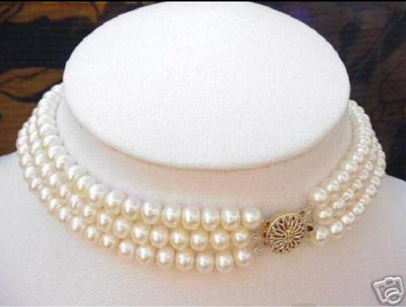 Real charming south set 3 Strand 8 9MM natural White Pearl Choker Necklace c