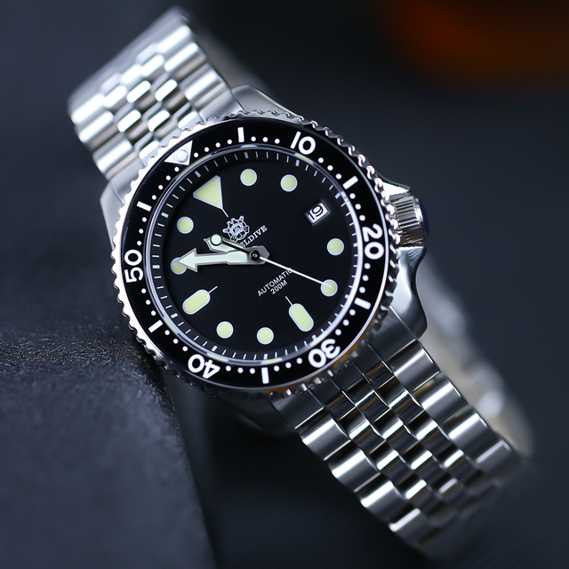 STEELDIVE 1996 Men Mechanical Watch Mens C3 Luminous Stainless Steel Dive Watches NH35A Automatic Watch Mens 20Bar Diver Watches