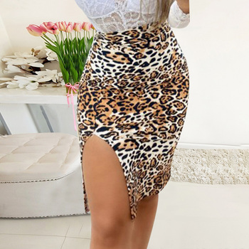 цена на Summer High Waist Split Skirts Fashion Floral Leopard Print Zipper Bodycon Pencil Midi Skirts Office Ladies D30