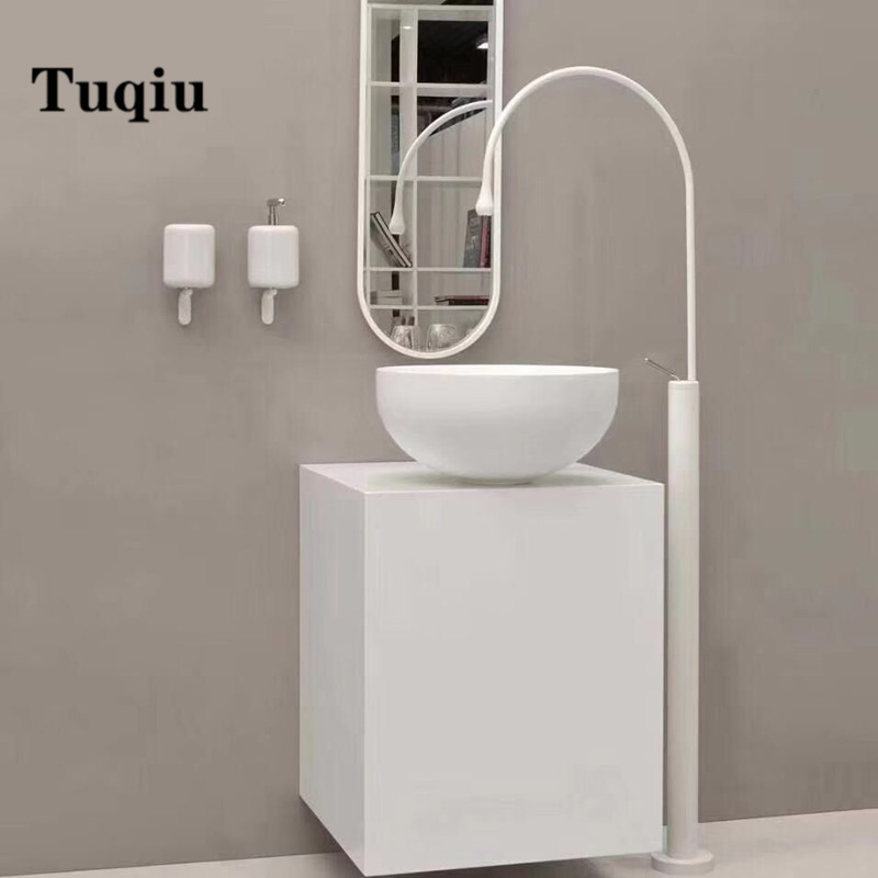 White and gold Bathroom basin Faucet Brass Floor Decked Sink Mixer Hot and Cold Tap super long water drop design gold sink tap