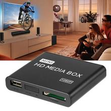 Мини медиаплеер 1080P мини HDD медиабокс ТВ коробка видео мультимедийный плеер Full HD с SD MMC кардридер 100Mpbs AU EU US Plug