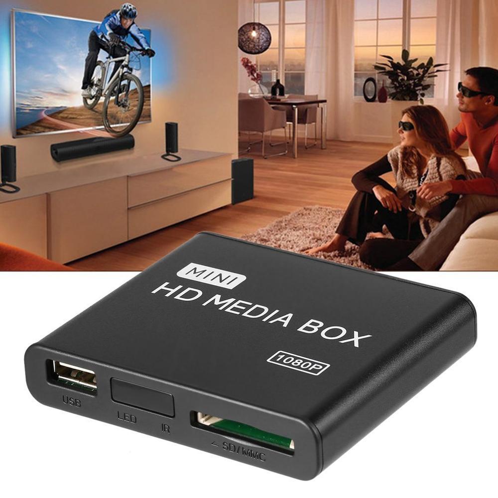 Mini media player 1080 p mini caixa de mídia hdd caixa de tv vídeo multimídia player hd completo com leitor de cartão sd mmc 100 mpbs au eua plug ue