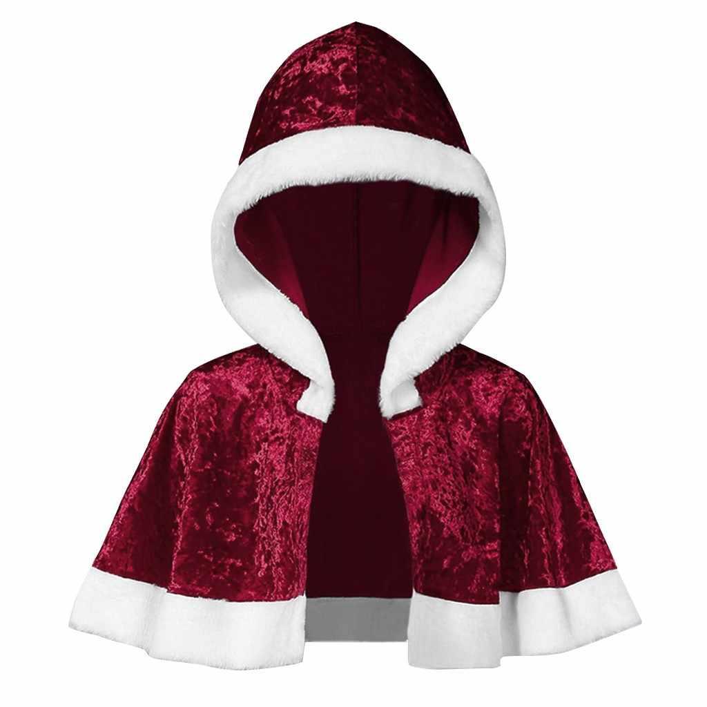 2019 Natal Ponco Jas Wanita Jubah Keluarga Yang Sesuai dengan Beludru Natal Jubah Berkerudung Cape Santa Merah Mantel Jaket