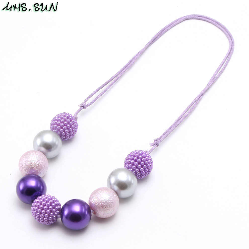MHS.SUN Newest Kids Beads Necklace Child Girls Adjustable Rope Necklace Colorful Handmade Chunky Jewelry For Party Gift 1Pcs