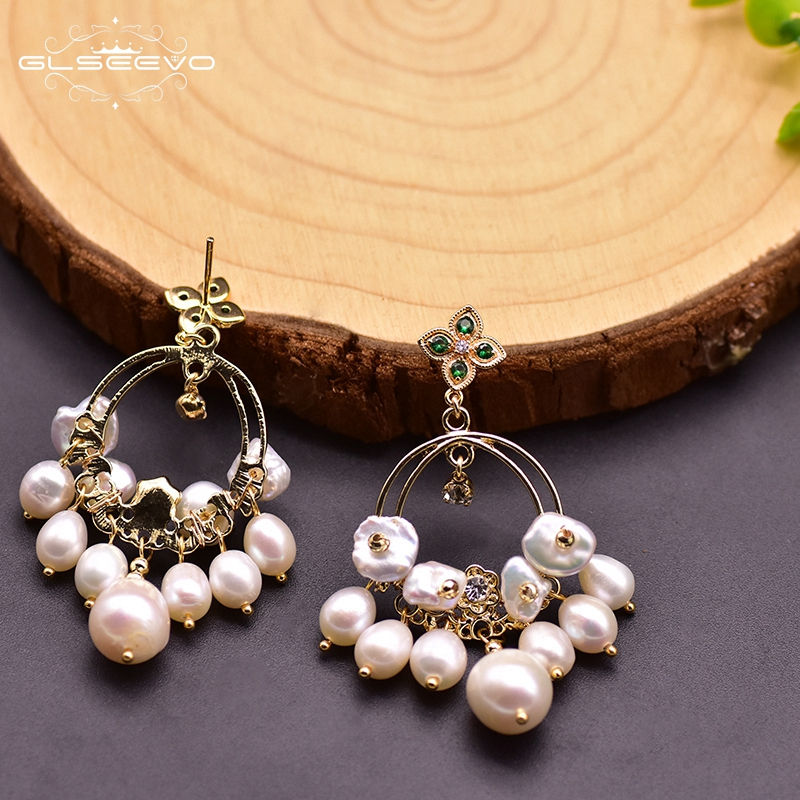 GLSEEVO Original Design White Natural Baroque Pearls Bohemia Dangle Earrings For Engagement Women Girls' Fine Jewellery GE0920
