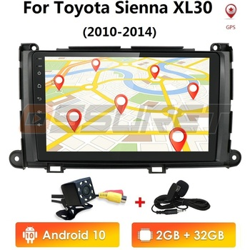 9 android 10 2G+32G car gps dvd player for Toyota Sienna 2010-2014 car radio multimedia navigation stereo head unit 2 din nodvd image