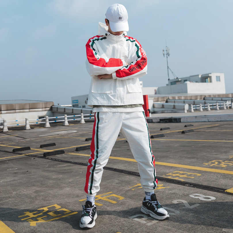 Brand Men's Sports Suits Loose comfortable Casual Jacket+Sports Pants 2PCS Suit Multi-pocket white Hooded jogging Track Suit