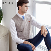 UCAK Brand Pure Merino Wool Sweater Vest 2019 New Arrival Casual Autumn Winter Pull Homme Streetwear Sweaters Clothes U3114