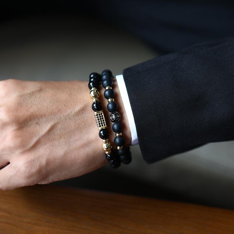 Fashion 2 Pcs/set Rectangle Bracelet Men Geometric Handmade Matte Lava Stone Men Bracelet Jewelry Gift