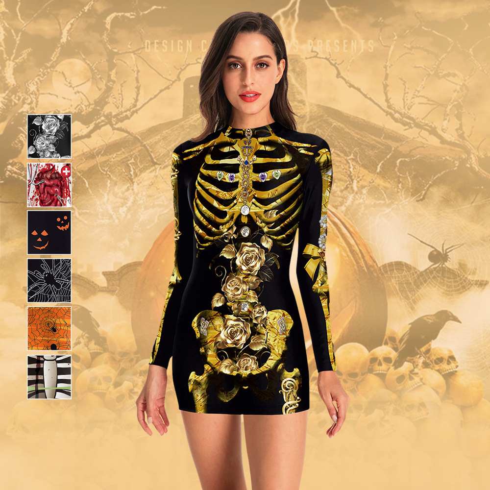 Women <font><b>Halloween</b></font> Skeleton <font><b>Costumes</b></font> Scary Printed Long Sleeve Dress <font><b>Sexy</b></font> Devil <font><b>Vampire</b></font> Ghost Cosplay Carnival Party <font><b>Costumes</b></font> image