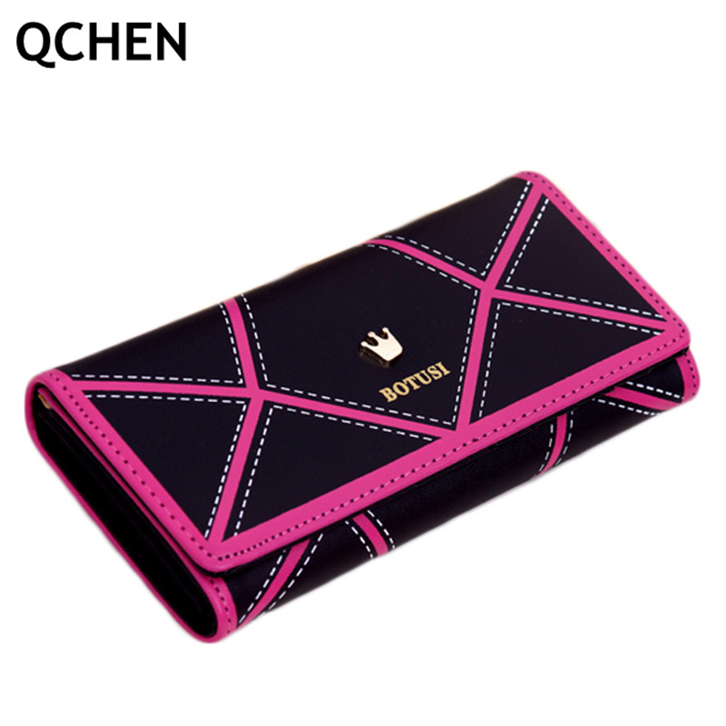 Wallets Women Long Crown 2020 PU Leather Women Wallet Ladies Purse Female Wallets Money Bag Triangle Fight Zipper Coin Purse 611