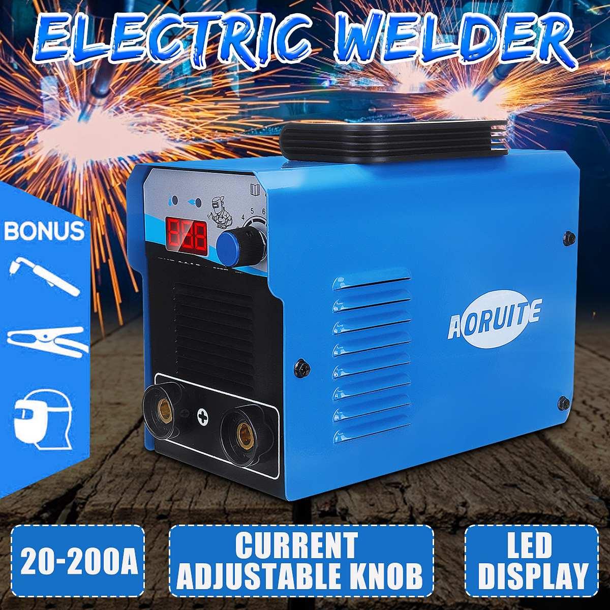 Electric Welder 200A Portable Welding Machine Power MMA IGBT Inverter Welder LCD Display 110V/220V Welding Tool Energy Saving