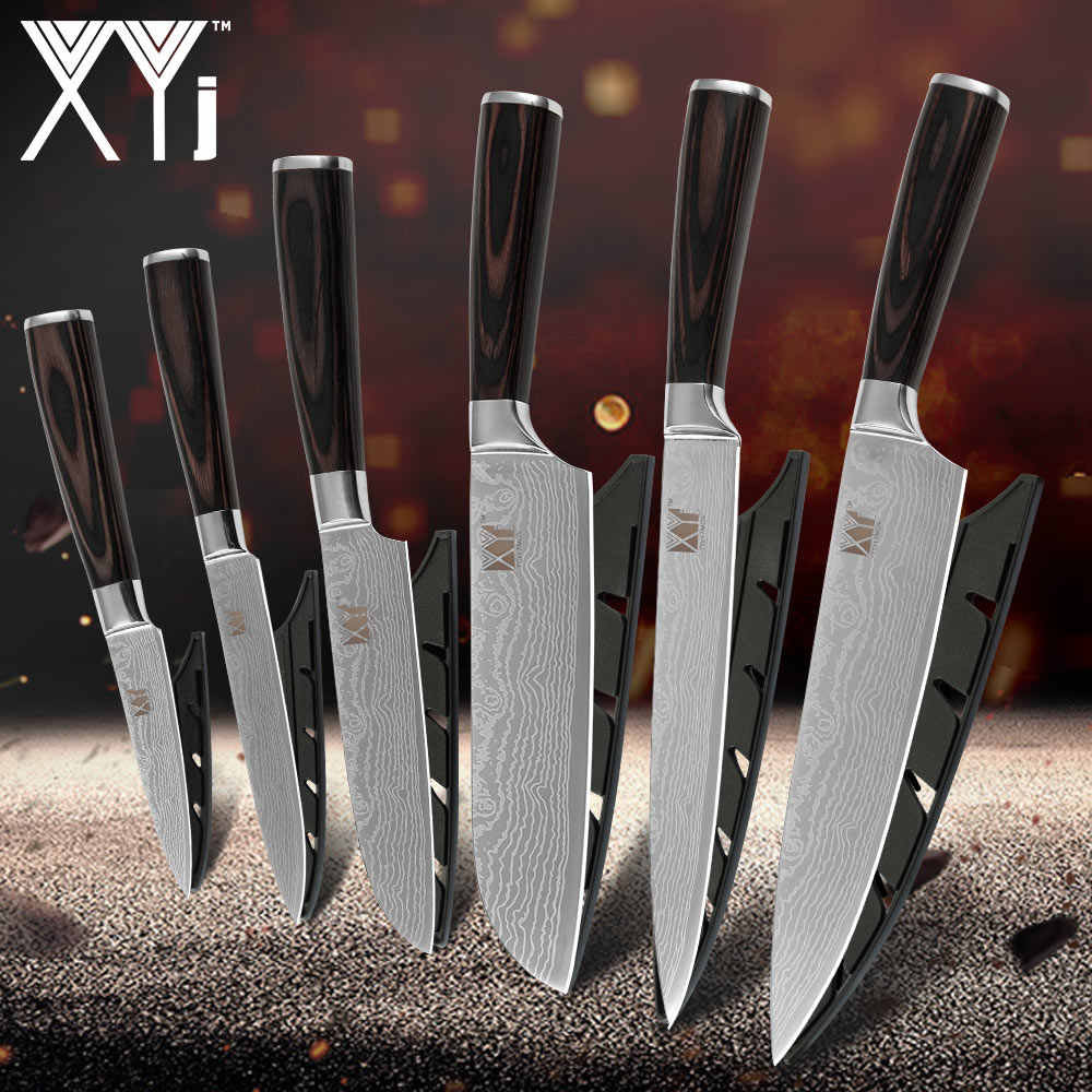 XYj Paring Utility Santoku Slicing Chef Knife 7Cr17 Pattern Veins Stainless Steel Kitchen Knives Color Wood Handle 6 PCS Set