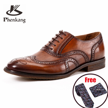 Phenkang Men formal shoes Genuine leather Brogues oxford