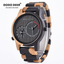 цена на relogio masculino DODO DEER Watch Men 2 Time Zone Wooden Quartz Watches Men's Gift Wristwatches In Wooden Box D03