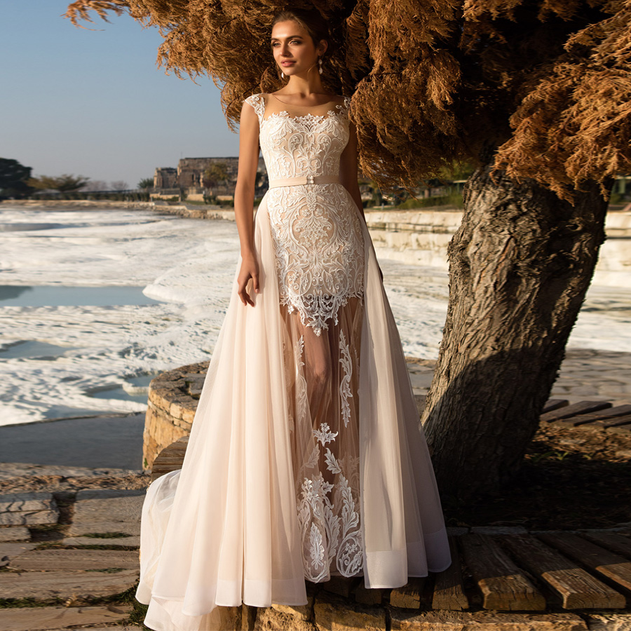 Charming Mermaid Wedding Dresses With Removable Sheer Skirt Bridal Gown Champagne Bride Dress Ivory Applique Vestidos De Novia