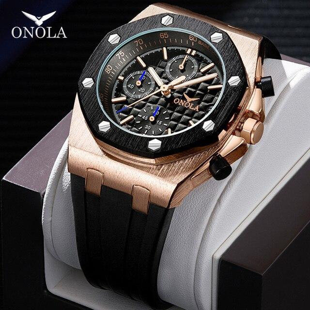 ONOLA di marca del quarzo di modo casuale mens orologio cronografo orologio da polso Multifunzione tutto in metallo oro nero orologio da polso impermeabile per gli uomini