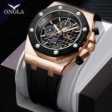 ONOLA מותג אופנה מזדמן קוורץ mens שעון הכרונוגרף יד משולב כל שחור זהב מתכת עמיד למים שעון לגברים