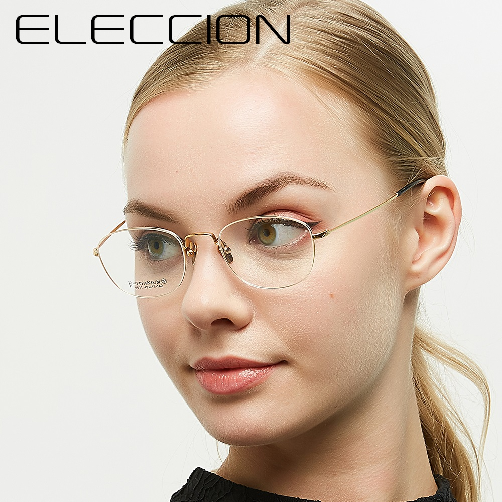 Titanium Glasses Frame Women Full Square Optical Myopia Prescription Eyeglasses Frame Spectacle <font><b>arma</b></font>çã<font><b>o</b></font> <font><b>de</b></font> <font><b>oculos</b></font> feminino image