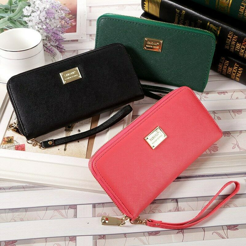 2020 HOT Sell Women Lady Long Travel Wallet Zip Purse Card Phone Holder Case Clutch Handbag Faux Leather Bow-knot Clutch Wallet