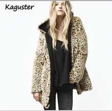 2019 Women Hooded Dolman Long Sleeve Leopard Turn-down Collar Faux Fur Parkas Coat for Winter jacket warm thick office lady girl