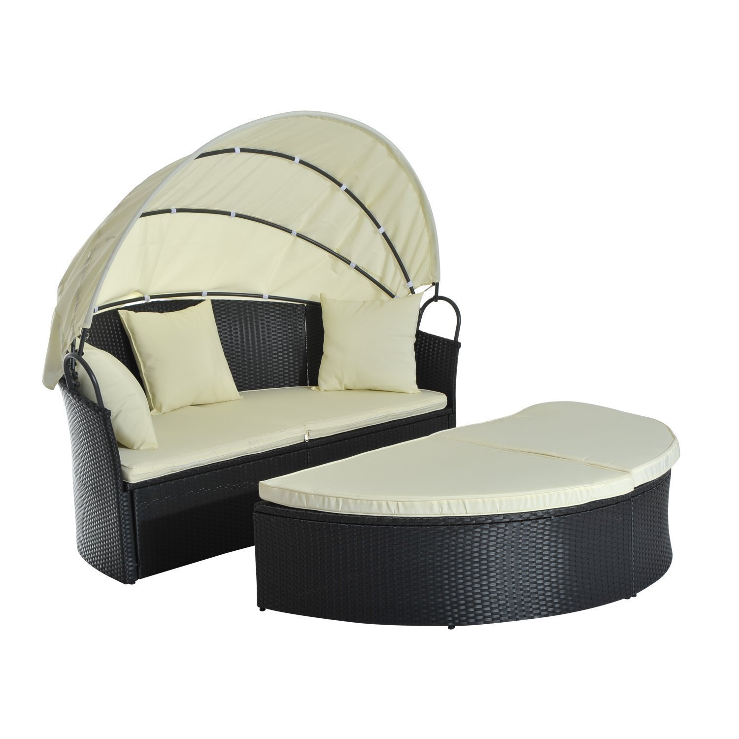 Outsunny Set Garden Lounger Shell Sundress With Sunshade Tent PE Rattan
