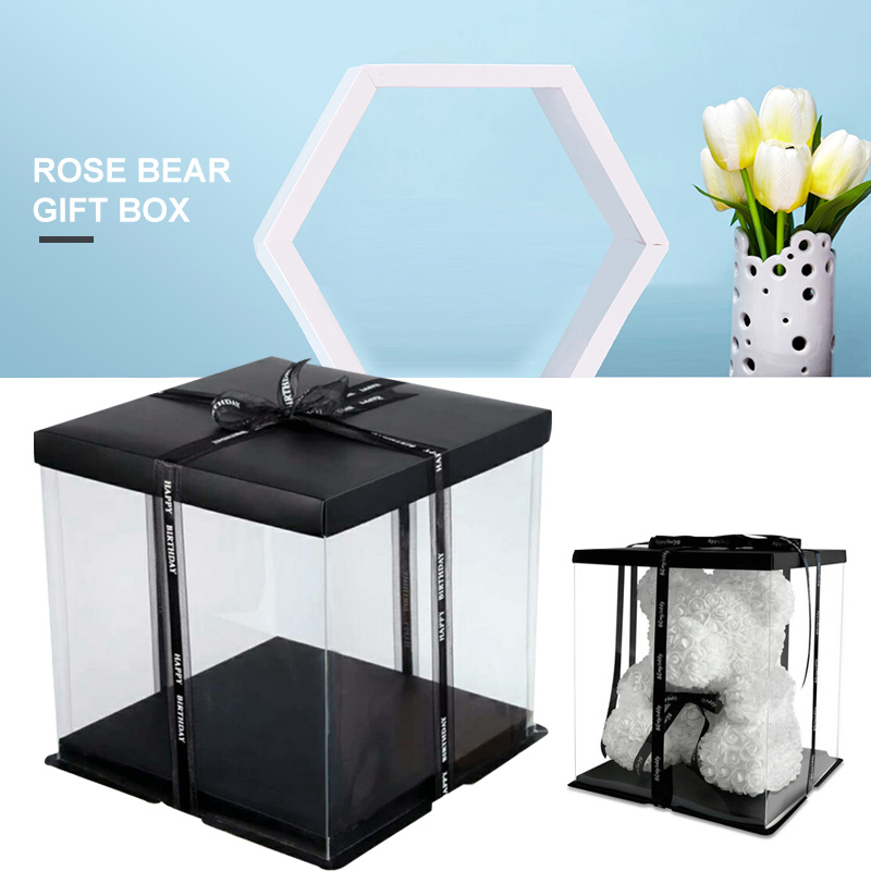 Foldable Flower Box PVC Festival Beautiful Gift Box Wrapping Gift Case Party Living Room Bear Valentine'S Day DIY Rose Wedding