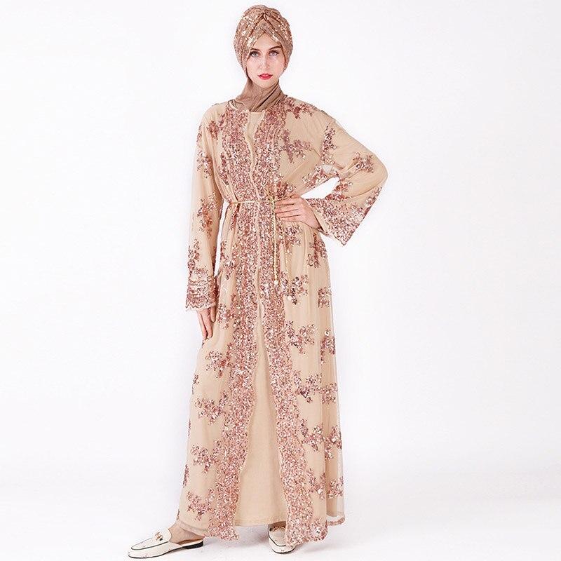 Middle East Saudi Arabia Luxury Mesh Sequin Embroidered Travel Women's Robe Muslim Dubai Ramadan Mosque Prayer Abaya Dress