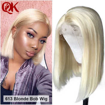 QueenKing hair Lace Front Human Hair Wigs For Black Women Straight 180% Platinum Blonde 613 Bob Wigs Brazilian Hair Preplucked - DISCOUNT ITEM  30% OFF All Category