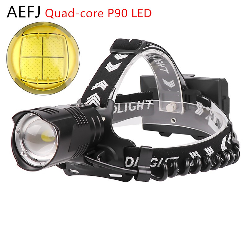 AEFJ XHP90.2 Powerful Led Headlamp USB Rechargeable Headlight Head lamp Torch Waterproof Zoom Fishing Light by 18650 Battery