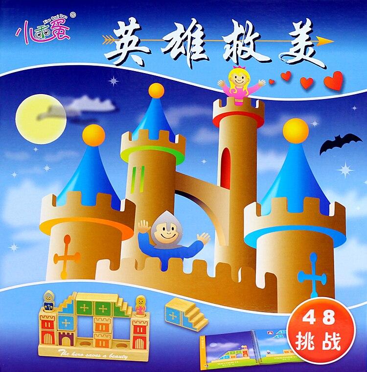 Petit bon oeuf en bois jouet héros sauver l'amérique 48 Guan Puzzle logique raisonnement nouveau Puzzle en trois dimensions jouet Tour de Table