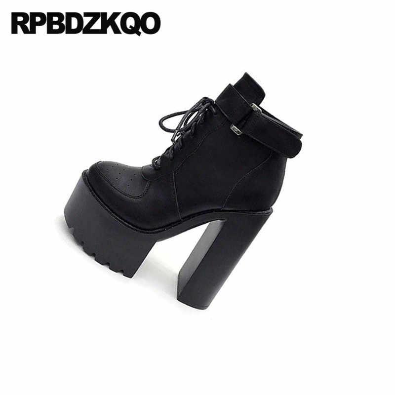 15cm motorfiets booties riemen hoge hak demonia biker goth gothic zwarte vrouwen schoenen chunky goedkope waterdichte wit platform laarzen