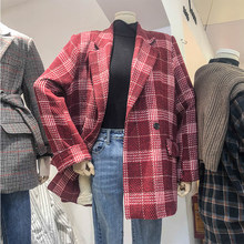 Élégant Plaid dames Blazer rouge Simple ample costume décontracté veste à manches longues Abrigos Mujer rétro coréen femmes vêtements MM60NXZ(China)