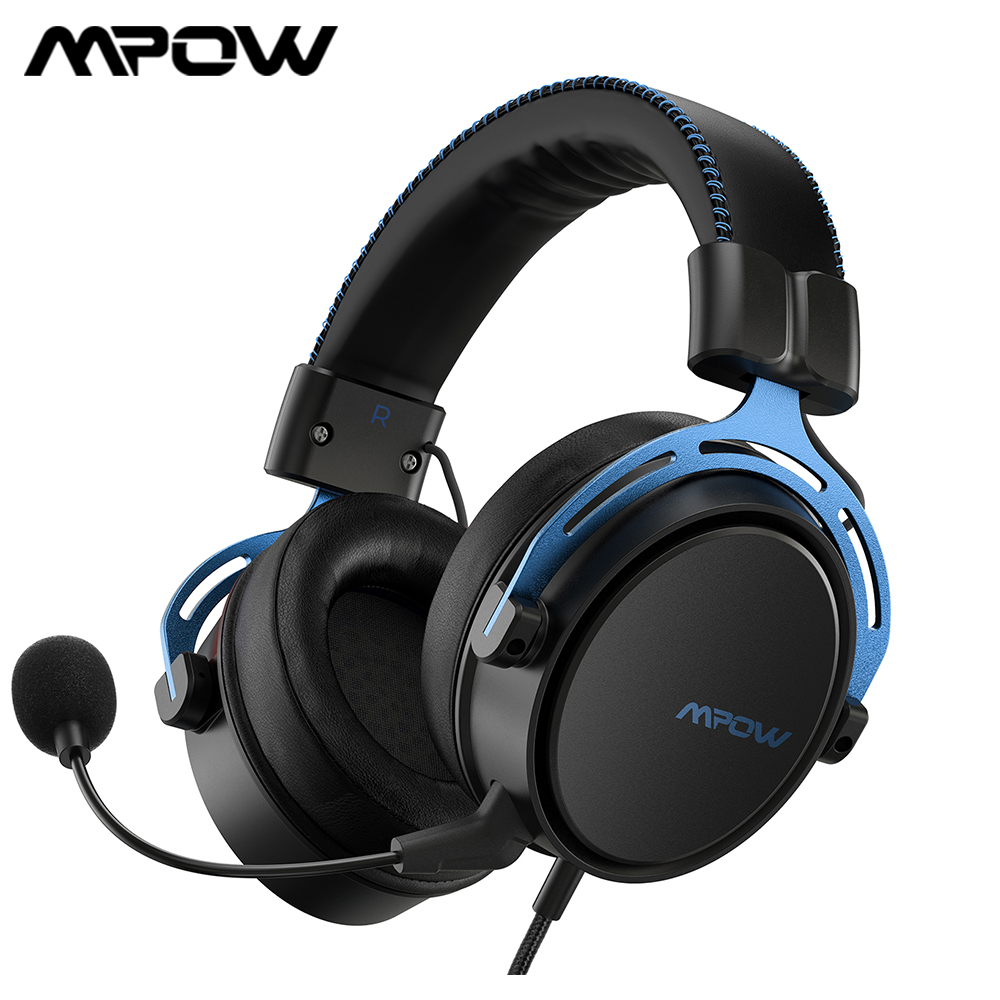 Игровая гарнитура Mpow Air SE, проводная гарнитура 3,5 мм, игровые наушники с объемным звуком и микрофоном с шумоподавлением для геймеров PS4, ПК