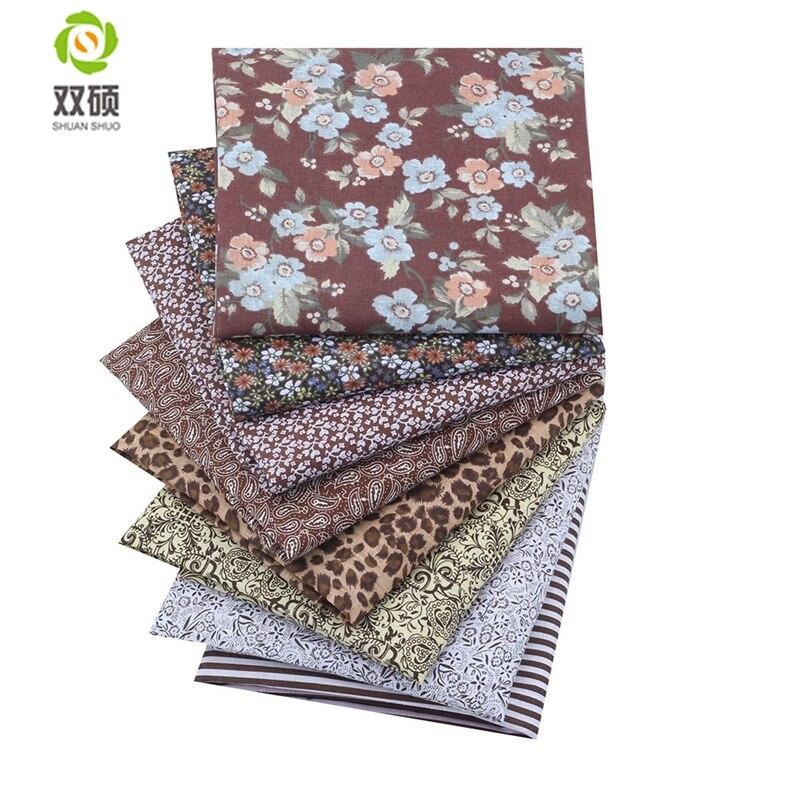 Tecido de algodão azul seriers retalhos tecido caixa de gordura quartos costura para tecido 8 peças/lote 50x50cm|Tecido|   -