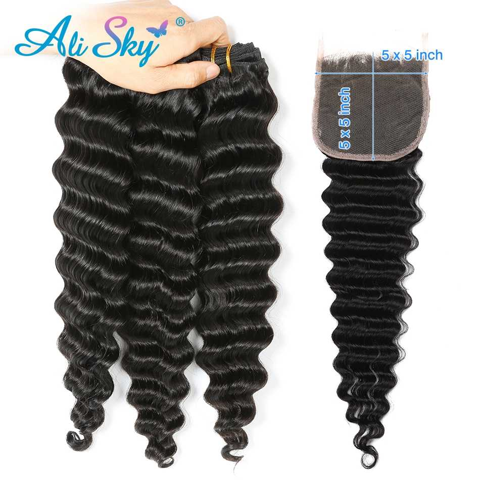 Alisky Hair 3/4  Bundles With A 5*5 Swiss lace Closure Peruvian Deep Wave Hair 100% Human Hair Extension Natural Black Remy Hair