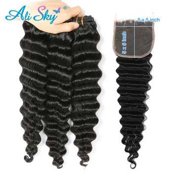 Alisky Hair 3/4  Bundles With A 5*5 Swiss lace Closure Peruvian Deep Wave Hair 100% Human Hair Extension Natural Black Remy Hair - DISCOUNT ITEM  48% OFF All Category