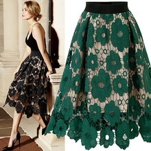 Good Quality 2021 Summer High Elastic Waist Lace Skirt Women Vintage Floral Crochet Hollow Out Ball Gown A-Line Mid-calf Skirt
