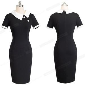 Image 2 - נחמד לנצח אלגנטי בציר פולקה נקודות עבודת טלאי vestidos כפתור עסקי נדן נשים שמלת B506