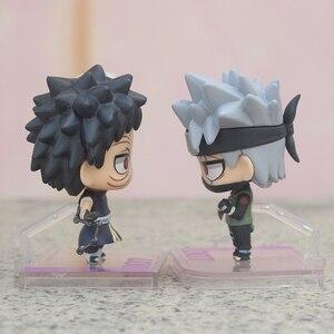 Image 4 - 2 sztuk/zestaw Anime NARUTO Model figurka Uchiha Obito i Hatake Kakashi Q Ver. pvc zabawki figurki akcji