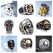 Готические панк мужские кольца из нержавеющей стали винтажные хип хоп кольца с черепом для мужчин стимпанк ювелирные аксессуары кольца Прямая