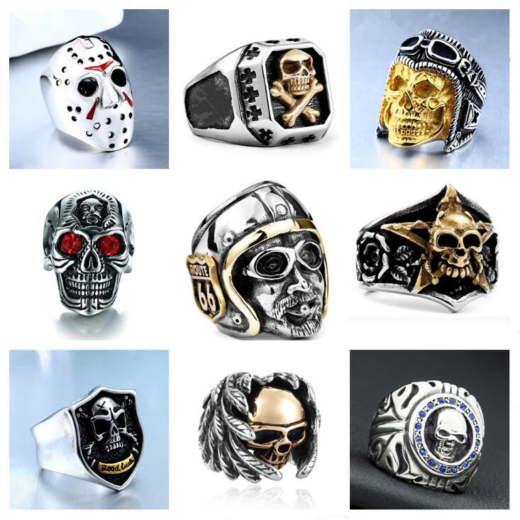 Gothic Punk Men Stainless Steel Ring Vintage Hip Hop Skull Rings For Men Steampunk Jewelry Accessories 2019 Rings Drop Shipping
