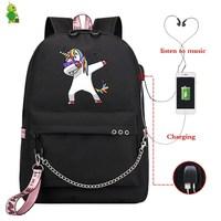 Mochila Unicorn Backpack Funny School Bags for Teenage Girls Usb Charge Laptop Backpack Women Backpacks Korean Travel Backpack