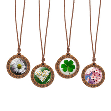 Daisy Flower Necklace Glass Cabochon Wooden Pendant Clover Leaf Rope Chain Nature Art Jewelry