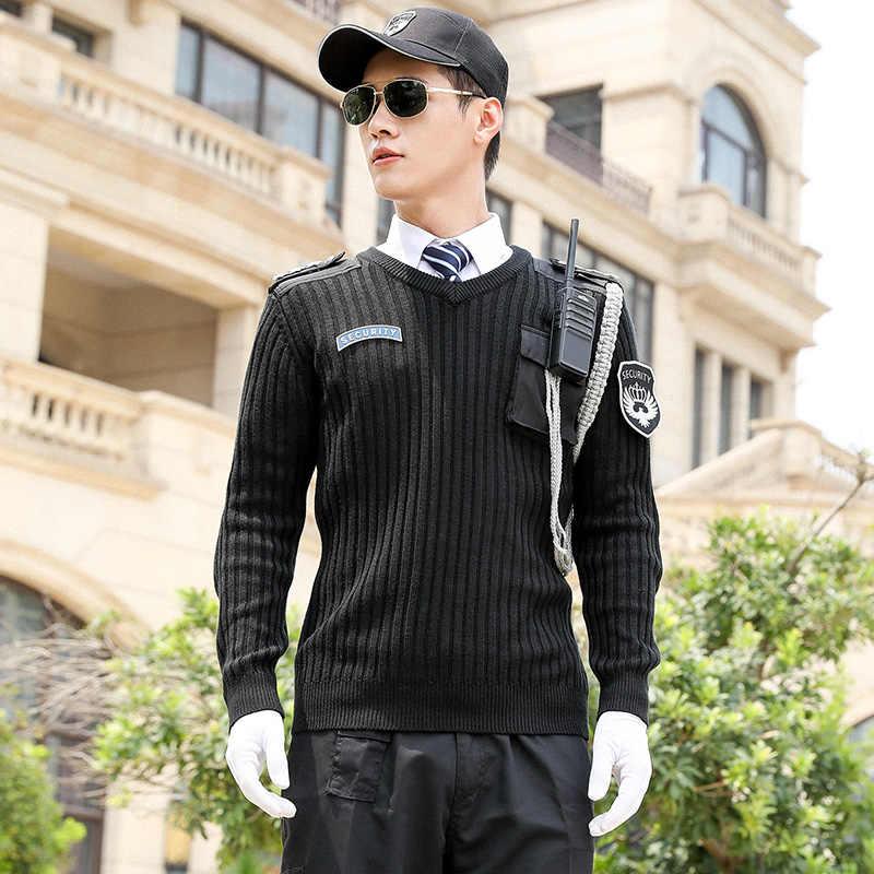 남성 풀오버 니트 레저 스웨터 세트 고품질 남성 두꺼운 겨울 성격 보안 제복 작업복 정장