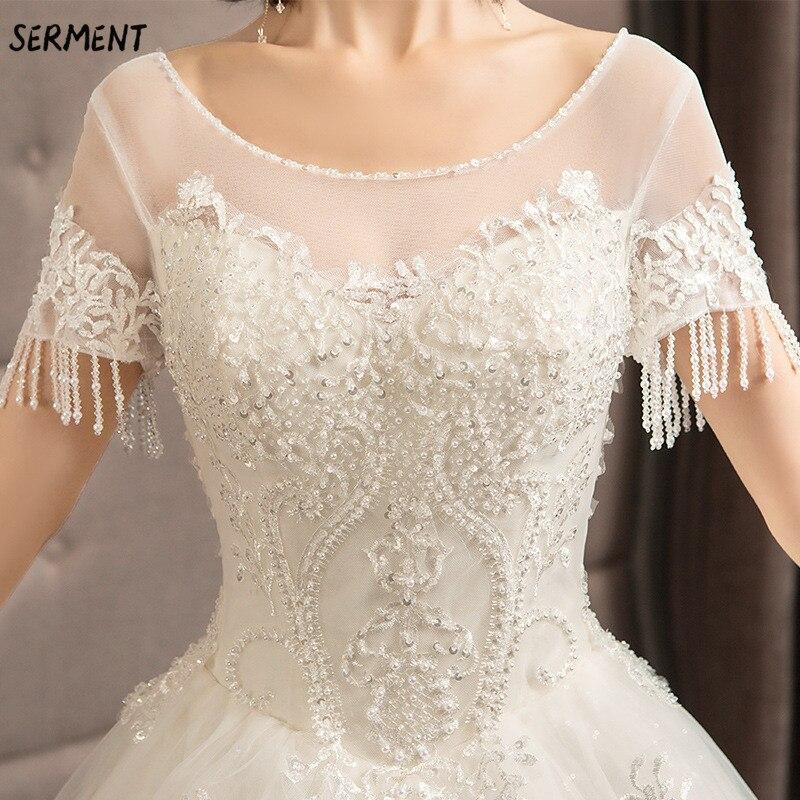 SERMENT Simple impression florale mariage dentelle queue à manches longues aristocratique élégante mariée impression Explosion robe de mariée - 6