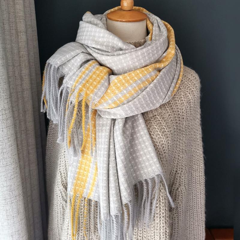 2019 Autumn Winter Female Wool Plaid Scarf Women Cashmere Scarves Wide Lattices Long Shawl Wrap Blanket Warm Scarfs
