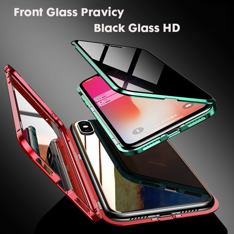 360 Privacy Magnetic Adsorption Case For iPhone XS MAX XR X 7 8 6 6s Plus Front Back Tempered Glass Full Protective Case Cover in Fitted Cases from Cellphones Telecommunications