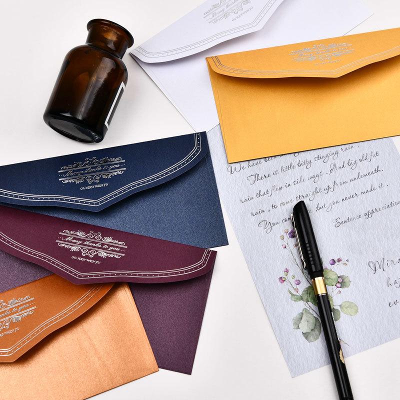 South Korea Western Hot Silver Business Envelope Invitation Decoration Envelope Bag Invitation Envelope Customizable 5 Sheets/Pa