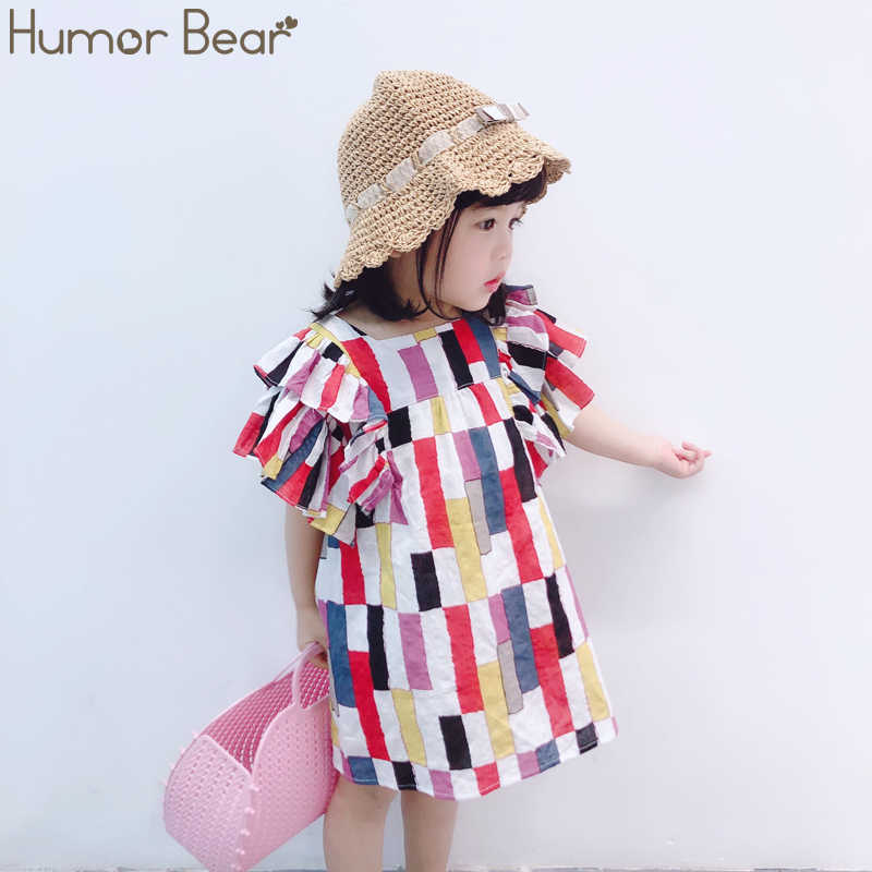Humor Bear Girls Dress  Children'S Dresses Striped-Paneled Chiffon Summer Dresses Princess Dress Girls Fall Dress